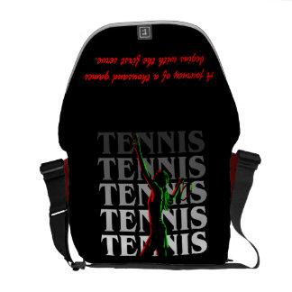 Messenger Bag Women's Tennis 1 White on Dark