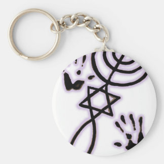 Messianic prints basic round button key ring
