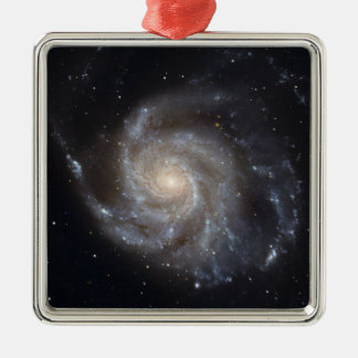 Messier 101, the Pinwheel Galaxy Silver-Colored Square Decoration