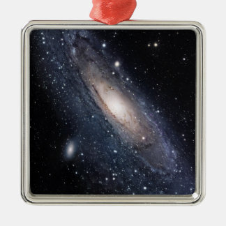 Messier 31, The Great Galaxy in Andromeda Silver-Colored Square Decoration