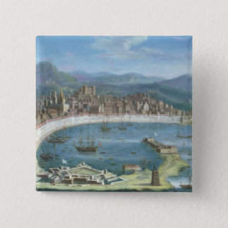 Messina - a Panoramic View of the Port 15 Cm Square Badge