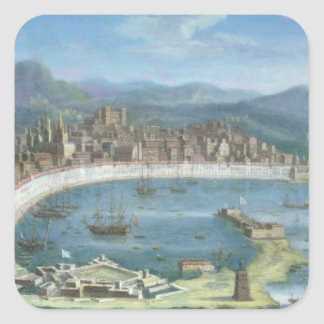 Messina - a Panoramic View of the Port Square Sticker