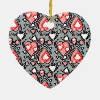 Messy Crayon Drawing Hearts Ceramic Heart Decoration