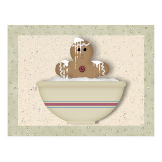 Messy Gingerbread Man Recipe Card Postcard