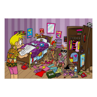 Messy Girls Bedroom Poster