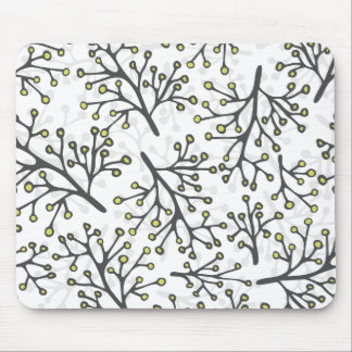 messy gray green branches on white background mouse pad