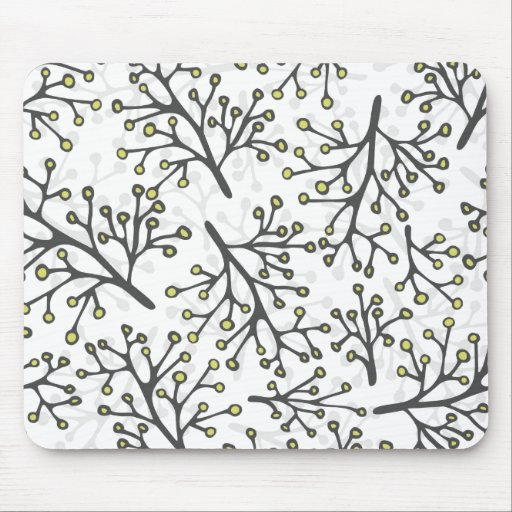 messy gray green branches on white background mousepad