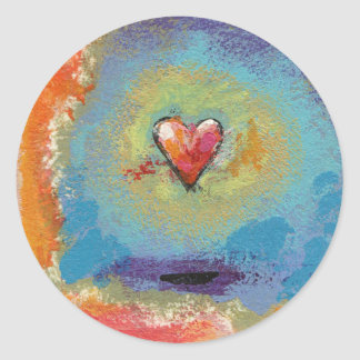 Messy Heart fun colorful miniature painting art Round Sticker