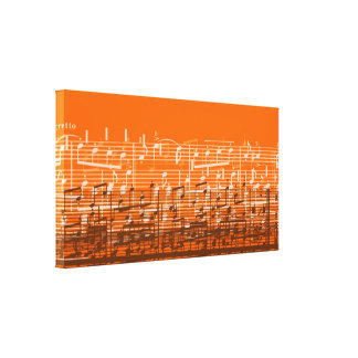 Messy music notes bright orange wrapped canvas art gallery wrapped canvas