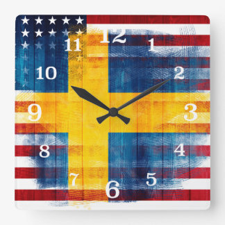 Messy Paint Strokes Swedish American Flag Square Wall Clock
