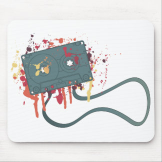 Messy painted cassette tape mouse pad