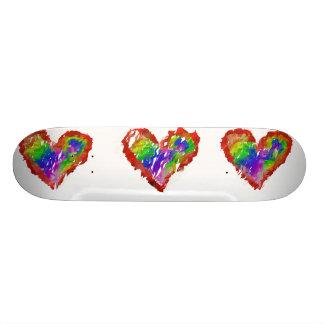 Messy Rainbow Hearts Skateboard