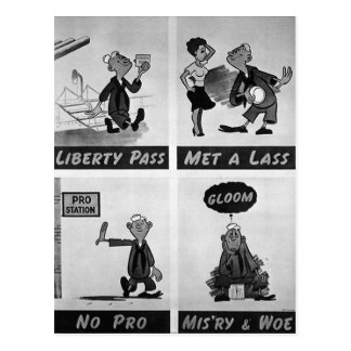 """""""Met a Lass...No Pro"""" WWII VD Poster Warning Postcard"""
