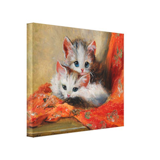 Meta Plückebaum's Vintage Cute Cat Painting Canvas Print