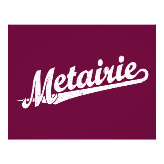 Metairie script logo in white distressed 21.5 cm x 28 cm flyer