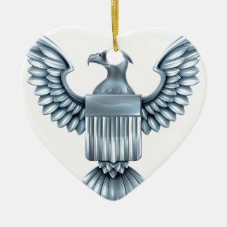Metal American Eagle Shield Ceramic Heart Decoration