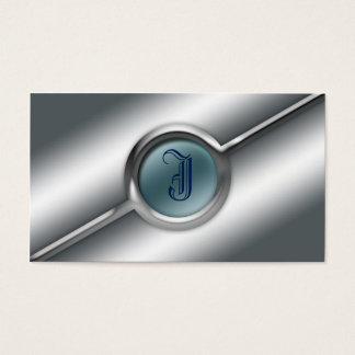 Metal And Glass Business Card Monogram Template
