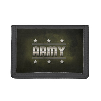 Metal Army Text Tri-fold Wallet