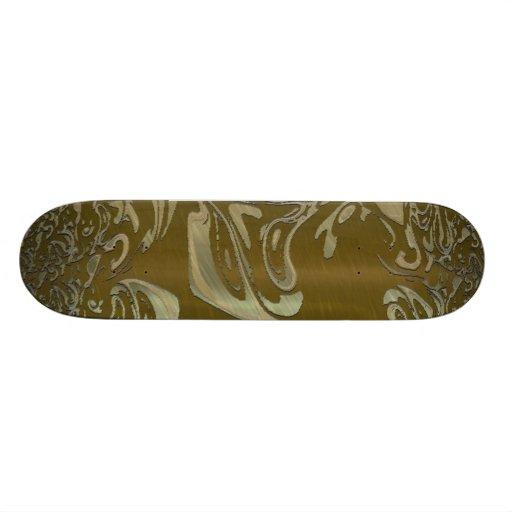 metal art golden skateboards
