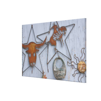 Metal art souvenirs on outdoor wall canvas print