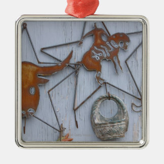 Metal art souvenirs on outdoor wall Silver-Colored square decoration