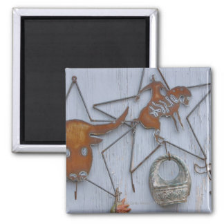 Metal art souvenirs on outdoor wall square magnet