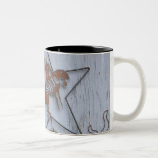 Metal art souvenirs on outdoor wall Two-Tone coffee mug