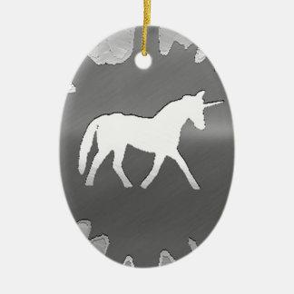 metal art unicon silver christmas ornament