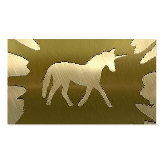 metal art unicorn golden pack of standard business cards