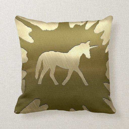 metal art unicorn golden pillow