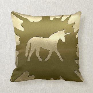 metal art unicorn golden throw pillow