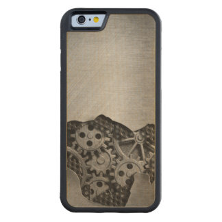 Metal background with mechanical damage carved maple iPhone 6 bumper case