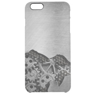 Metal background with mechanical damage clear iPhone 6 plus case
