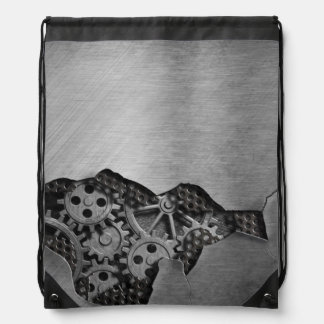 Metal background with mechanical damage drawstring bag