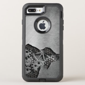 Metal background with mechanical damage OtterBox defender iPhone 8 plus/7 plus case