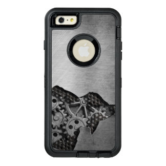 Metal background with mechanical damage OtterBox defender iPhone case