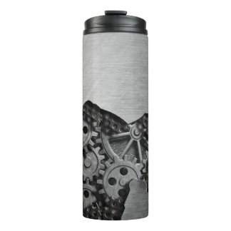 Metal background with mechanical damage thermal tumbler