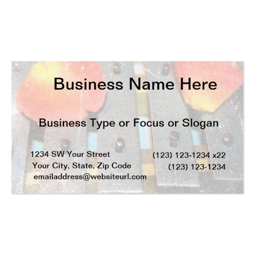 metal bells rose petals grunge music design business card