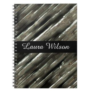Metal blocks customizable black center spiral notebook