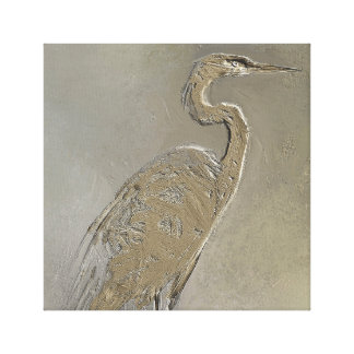Metal Blue Heron Canvas Print