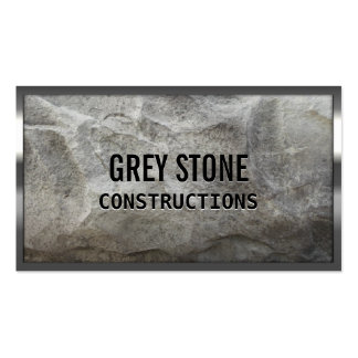 Metal Border Grey Stone Construction Business Card