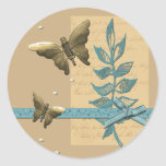 Metal Butterflies and Pearls Collage Round Sticker