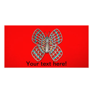 Metal butterfly photo card template