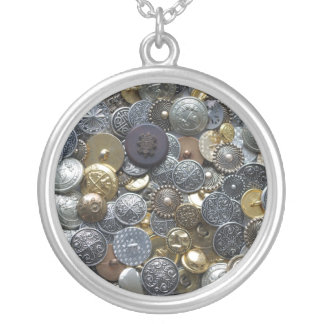 Metal buttons silver plated necklace