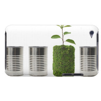 Metal cans and new seedling growth showing Case-Mate iPod touch case
