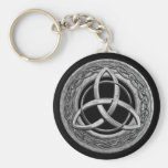 Metal Celtic Trinity Knot Basic Round Button Key Ring