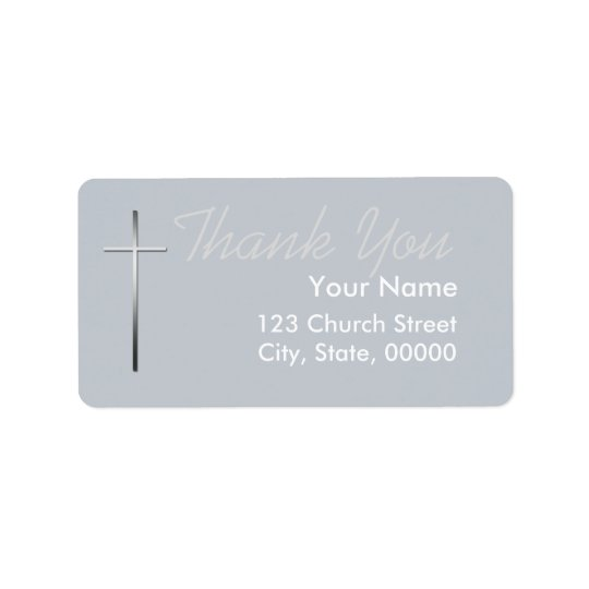 Metal Christian Cross Thank you label custom