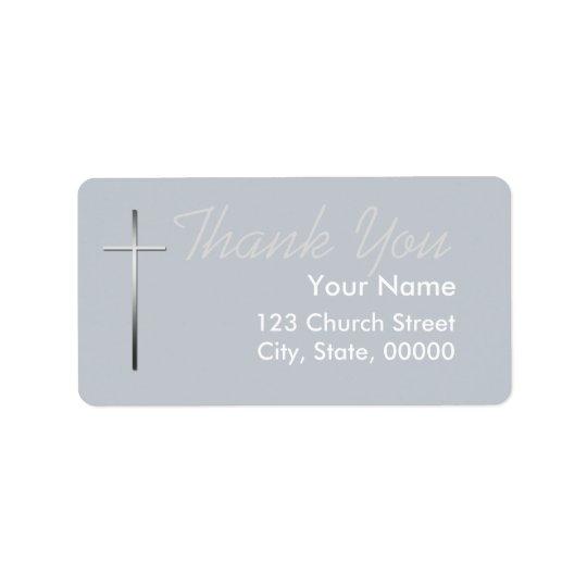 Metal Christian Cross Thank you label custom Address Label