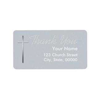 Metal Christian Cross Thank you label custom Color