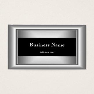 Metal Chrome Elegant Black & White Style Silver Business Card
